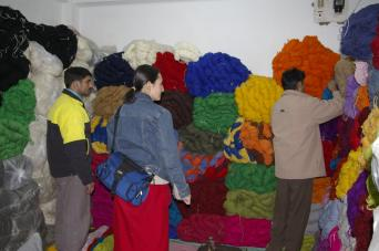 Purchasing wool in Kathmandu. This was our regular wool store and they treated us like VIP customers.